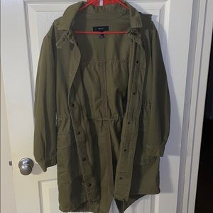 Forever21 Long Green Utility Jacket